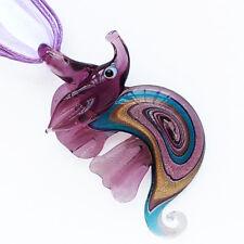 Purple Silver Sea Horse Handmade Lampwork Murano Glass Pendant Ribbon Necklace