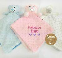 Personalised Baby Teddy Bear  Comforter Blanket, Christening Gift, Boy Girl