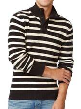 Tommy Hilfiger Mens Sweater Sz XL Black Meteorite Striped Mock-Neck Pullover