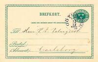 """SCHWEDEN 1895, """"GÖTEBORG L.Br."""" K1 glasklar a. 5 (FEM) Öre grün GA-Postkarte"""