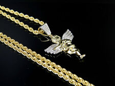 "10K Yellow Gold Real Diamond Angel Cherub Pendant Charm .25CT 1.5"" Chain Set 2MM"