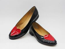 Ballerina in pelle verniciata nero  e cuore rosso fondo cuoio made in Italy