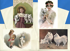 POMERANIAN SPITZ PACK OF 4 VINTAGE STYLE DOG PRINT GREETINGS NOTE CARDS #1
