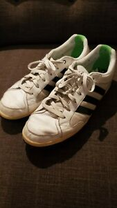 Vintage Adidas Shoes Men's 13 White with Navy Stripes, Green Interior