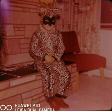 35mm Slide 1961 Halloween Costume Cute Cat Little Child Kid Play Family Home