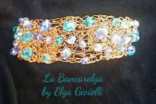 Bracciale artigianale filigrana rame e cristalli azzurri. Blue copper bracelet