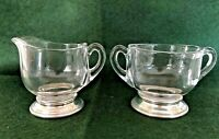 VINTAGE STERLING SILVER FOOTED GLASS CREAM AND SUGAR SET