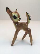 Vintage Bambi W/ Yellow Butterfly Walt Disney Ceramic Figurine