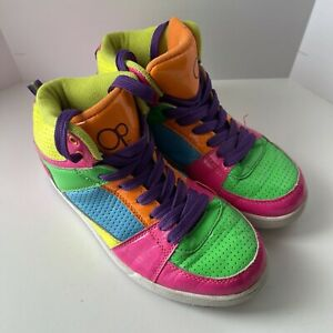 OP Ocean Pacific Neon Yellow Blue Pink High Top Shoes Athletic Sneakers Size 5