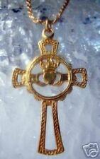 LOOK Gold Plated Claddagh Irish Cross Pendant Jewelry charm