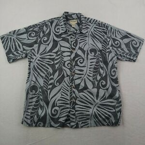 Cooke Street Hawaiian Shirt Mens 2XL XXL Blue Black Floral Leaves Vines Tropical