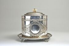 VINTAGE SILVERPLATED BISCUIT BARREL COOKIE JAR
