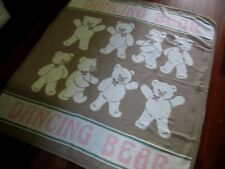 Blanket Throw Dancing Bears Brown Pink Cotton Made in Spain 52x60 Home Decor