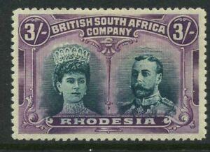 Rhodesia 1910-13 3/- Mint NH SG 158a Cat £1300