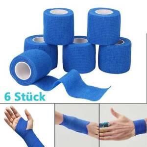 6 selbsthaftende Bandagen elastische Haftbandage Fixierbinde Kohäsiv Pflaster