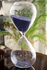 NEW GIANT RARE DEEP PURPLE SAND HOURGLASS CLEAR SMOOTH GLASS TIMER 2 hours. NWT