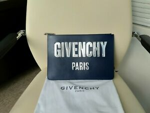 100% Authentic GIVENCHY Logo print Pouch Clutch Night Blue Color