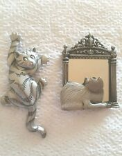2 Pewter Signed JJ (jonette) Cat Kitty Figural Pins Sitting Pretty Mirror Crazy