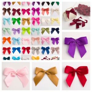 Self Adhesive 5cm Wide Pre-Ties Bows Satin 15/16mm Ribbon - Pack of 12 or 6