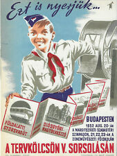 Original Hungarian Soviet communist cold war propaganda tram poster,pioneer 1952