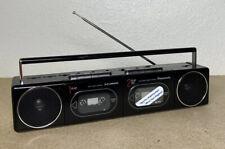 Works!! Panasonic RX-F11 Dual Deck Boombox Radio Mini Ghetto Blaster Black Rare