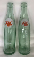 Vintage Set Of 2 Royal Crown Cola RC COLA 10 oz. Green Glass SODA BOTTLES 1979