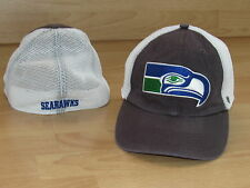 SEATTLE SEAHAWKS VINTAGE LOGOS MESH BACK FLEX FITTED CAP HAT SIZE S/M