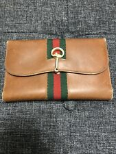 Vintage GUCCILeather Brown Wallet Red & Green Web Stripe& Checkbook Cover Used