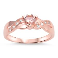 Sterling Silver 925 INFINITY HEART PROMISE RING NANO PINK STONES 5MM SIZES 4-12