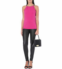 £95 Michael Kors NEW Fuchsia Hot Pink Black Leather Gold Chain Strap Top M 10 12