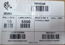 "Zebra 10000288 Label Paper 2"" x 1"" Z-Perform 2000T Thermal Transfer 10 Rolls/Box"