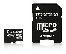 4GB Transcend microSDHC CL4 Memory Card with SD adapter