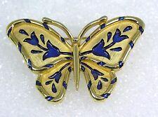 "Vintage Crown Trifari Butterfly Pin Brooch Cobalt Blue Enamel Tulip L'Orient 2"""