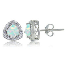 Sterling Silver Created Opal & White Topaz Trillion-Cut Stud Earrings