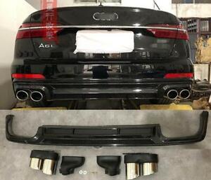 For 2019-2020 Audi A6/S6 Rear Diffuser Exhaust Tips  Rear Lip Spoiler Exhause