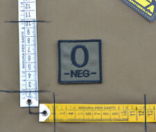 "Ricamata / Embroidered Patch ""Blood type 0 NEG -"" OD with VELCRO® brand hook"