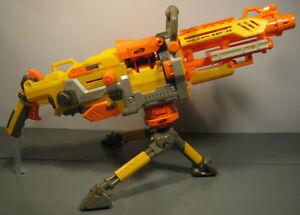 NERF VULCAN EBF-25 SOFT DART GUN w AMMO BELT & CAN & TRIPOD TESTED WORKS LOT N6