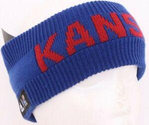 NEW Kansas KU Jayhawks Earband Adidas Blue Beanie Knit Winter Hat OSFA