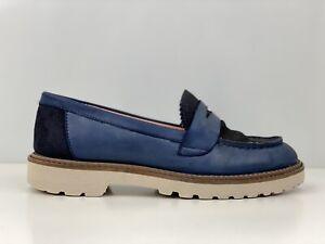 White Stuff Alpine Womens Blue Leather Loafers UK Size 3
