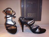 Scarpe sandali eleganti Soraya donna tacchi alti a spillo plateau raso neri 36