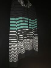 ShoutHouse Skate Wear Light Hoodie Striped Teal  Black And White Size  XXL