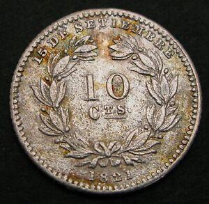 NICARAGUA 10 Centavos 1880 H - Silver - VF - 1132