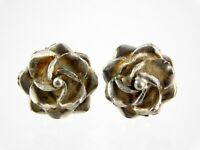 Vintage Taxco Mexico Sterling Silver Flower Stud Earrings Floral Rose 925 5.1 G