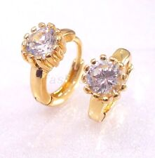White Rose or 18K Yellow Gold Plated Clear CZ Girl Xmas Birthday Hoops Earrings