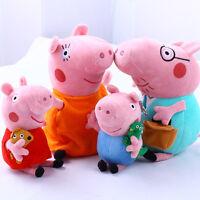 "Peppa Pig Family Plush Doll Stuffed Toy 12"" Daddy Mommy 8"" Peppa Xmas Gift 4pcs"