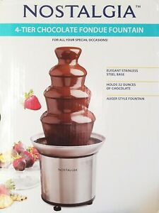 Nostalgia 4 Tier Chocolate Fondue Fountain Stainless Steel Heated Bowl
