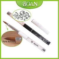 1Pc Crystal White Handle Pure Kolinsky Nail Art Brush for Small Acrylic Nail 2#