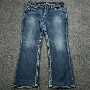 Silver Jeans Blue Denim Womens Size 16 L30 Regular Mid-Rise Suki Straight Jeans