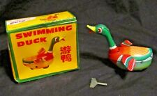 Vintage Tin/ Litho Toy Collectible Wind Up Swimming Duck & Original Box!