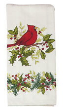 Christmas Cardinal & Holly Cotton Terry Cloth Kitchen Towel